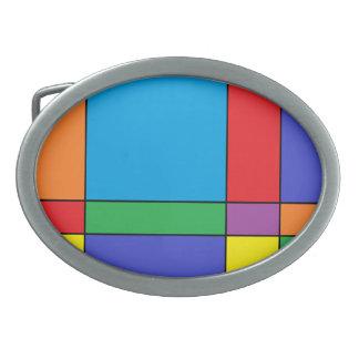 """Colorful Blocks"" Oval Belt Buckle"