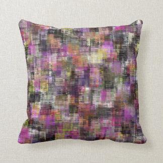 Colorful Blocks Pink To Black Throw Pillow