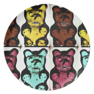 Colorful Blood Sucking Gum Me? Bears Melamine Plate