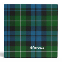 Colorful Blue and Green Lamont Plaid Binder