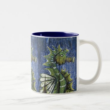 Coffee Themed Colorful Blue and Green Seahorse Coffee Mug