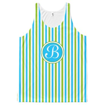 Beach Themed Colorful Blue and Green Stripe Pattern Monogram All-Over-Print Tank Top