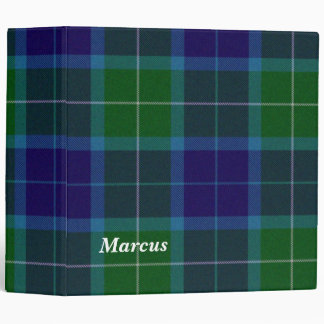 Colorful Blue and Green Wallace Plaid Binder