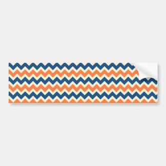 Colorful Blue and Orange Chevron Stripes Zig Zags Bumper Sticker