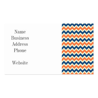 Colorful Blue and Orange Chevron Stripes Zig Zags Business Card