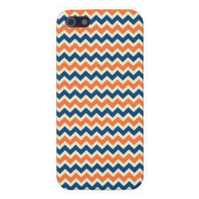 Colorful Blue and Orange Chevron Stripes Zig Zags Cover For iPhone 5