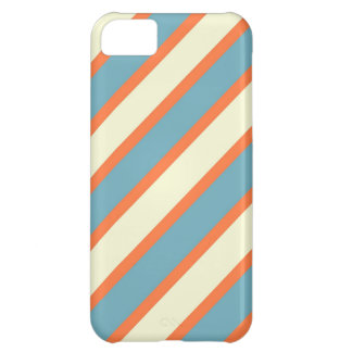 Colorful Blue and Orange Diagonal Stripes Pattern iPhone 5C Cover