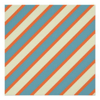 Colorful Blue and Orange Diagonal Stripes Pattern Poster