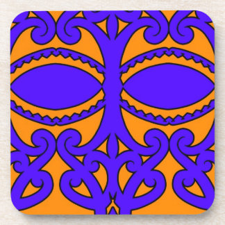 Colorful blue and orange tattoo patterns drink coaster