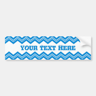 Colorful Blue and White Zigzags Patterned Bumper Sticker