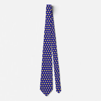 Colorful Blue and Yellow Flower Pattern Neck Tie
