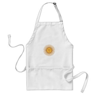 Colorful Blue and Yellow Smiling Sun of May Adult Apron