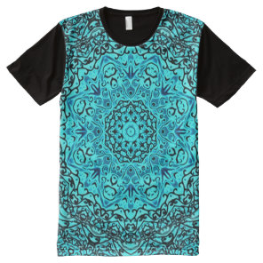 Colorful Blue Astral Travel Mandala Indie Art All-Over-Print T-Shirt