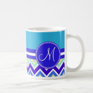 Colorful Blue Aztec Andes Chevron Zig Zags Coffee Mug