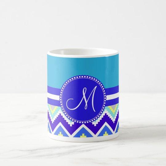 Colorful Blue Aztec Andes Chevron Zig Zags Coffee Mug