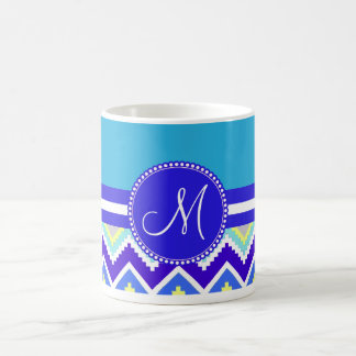 Colorful Blue Aztec Andes Chevron Zig Zags Mugs