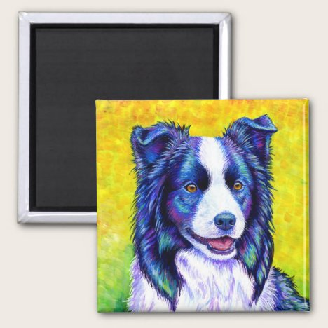 Colorful Blue Border Collie Dog Magnet