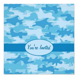 Colorful Blue Camo Camouflage Party Event Card