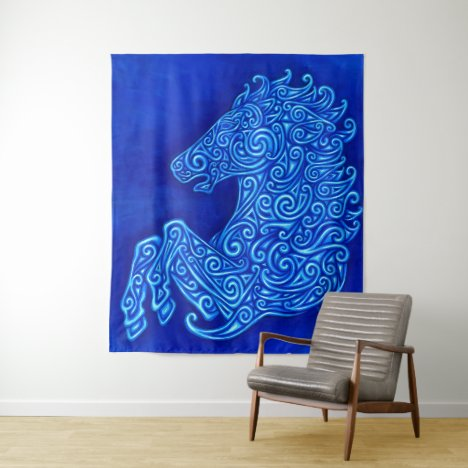 Colorful Blue Celtic Horse Tapestry
