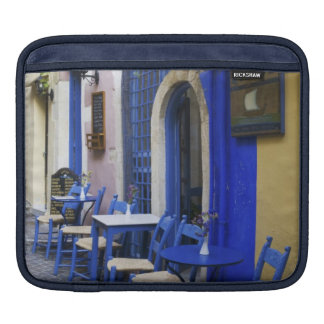 Colorful Blue doorway and siding to old hotel in iPad Sleeves