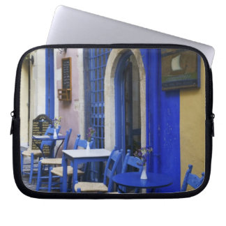 Colorful Blue doorway and siding to old hotel in Laptop Computer Sleeve