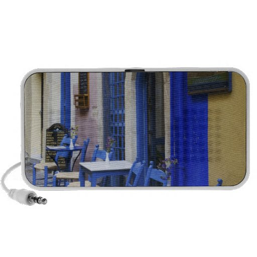 Colorful Blue doorway and siding to old hotel in Laptop Speaker