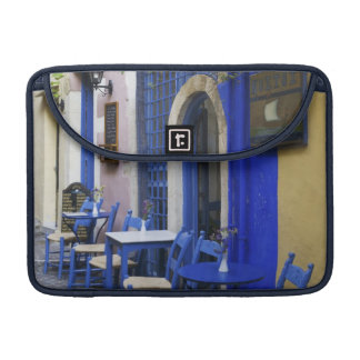 Colorful Blue doorway and siding to old hotel in Sleeves For MacBook Pro
