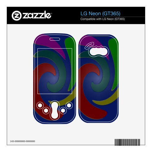 Colorful blue green red swirl abstract decal for LG neon