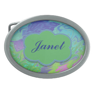 Colorful Blue Green Splash Abstract Belt Buckle