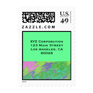 Colorful Blue Green Splash Abstract Postage