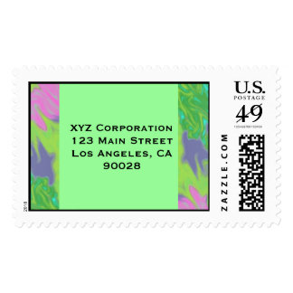 Colorful Blue Green Splash Abstract Postage Stamps