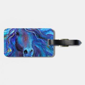Colorful Blue Horse Arabian art Travel Bag Tags