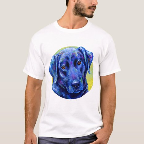 Colorful Blue Labrador Retriever Cute Dog T-Shirt