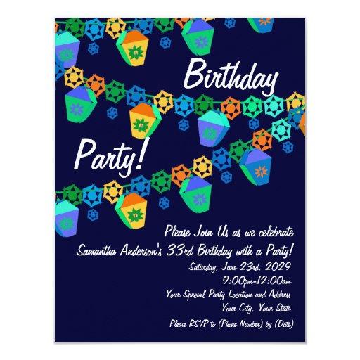 Colorful Blue Lanterns Birthday Party Invitation