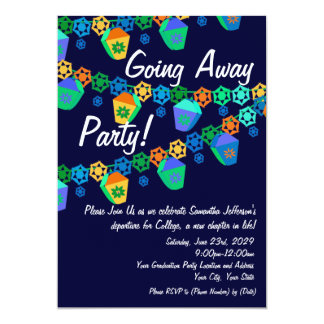 colorful blue lanterns going away party invitation - Goodbye Party Invitation