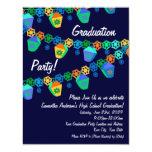 Colorful Blue Lanterns Graduation Party Invitation