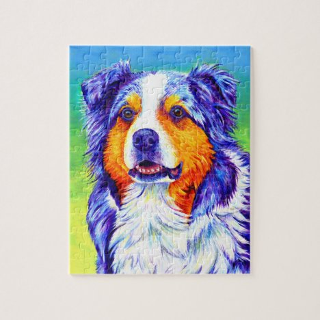 Colorful Blue Merle Australian Shepherd Dog Puzzle