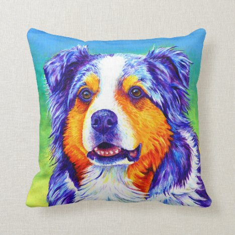 Colorful Blue Merle Australian Shepherd Pillow