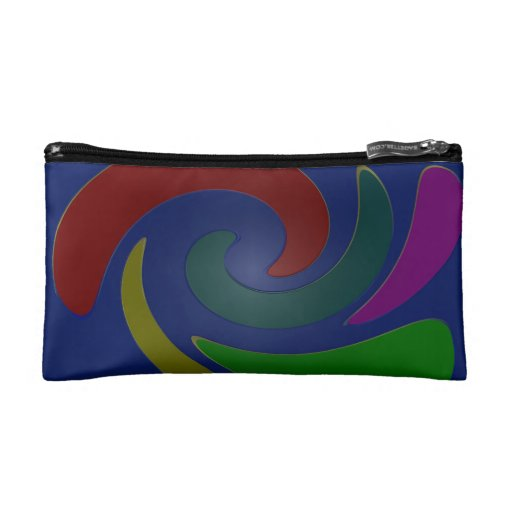 Colorful Blue Mod Abstract Makeup Bags