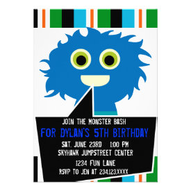 Colorful Blue Monster Birthday Party Invitations