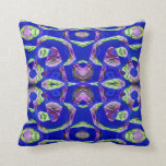 Colorful blue mosaic pattern throw pillow