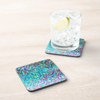 Colorful Blue Multicolored Abstract Art Pattern Beverage Coasters