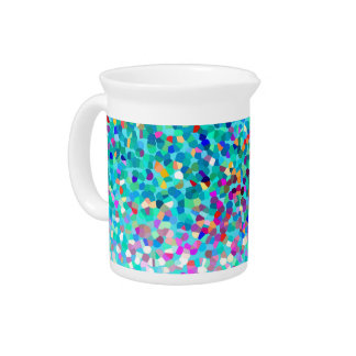 Colorful Blue Multicolored Abstract Art Pattern Drink Pitcher