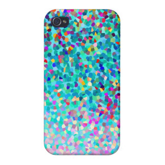 Colorful Blue Multicolored Abstract Art Pattern iPhone 4 Case