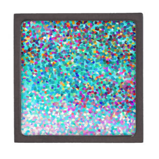 Colorful Blue Multicolored Abstract Art Pattern Jewelry Box