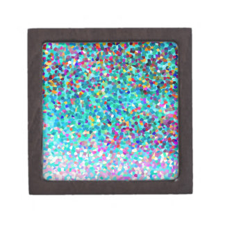 Colorful Blue Multicolored Abstract Art Pattern Premium Jewelry Boxes