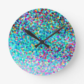 Colorful Blue Multicolored Abstract Art Pattern Round Clock