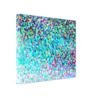 Colorful Blue Multicolored Modern Abstract Art Canvas Print