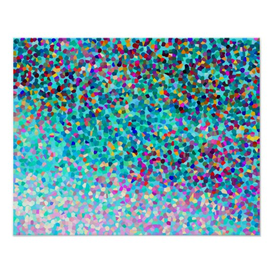 Colorful Blue Multicolored Modern Abstract Pattern Poster