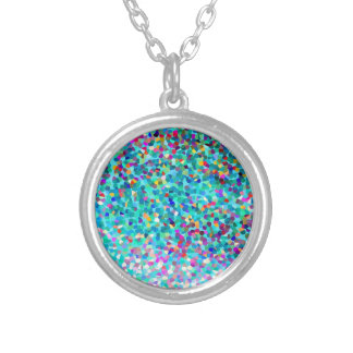 Colorful Blue Multicolored Silver Necklace Round Pendant Necklace